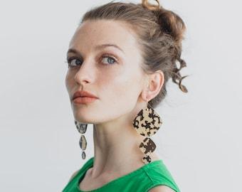 Tripple Pippi Drop - Faux Tortoiseshell - Laser Cut Acrylic Geometric Drop Earrings - Each To Own Original
