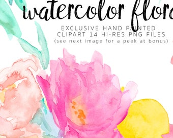 EasterWatercolor Flowers Clipart Large HiRes Graphics Summer Floral PNG files hand painted perfect for invites planner branding logo