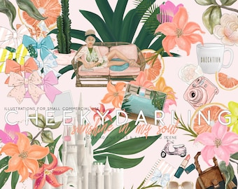 Planner Clipart Fashion Illustration Collection Sunshine in my Soul Tropical Painted Florals Sandcastle Beach Poolside Swimsuit Bows PNG