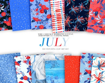 Cute Paper Patterns Fourth of July America Over 15 Jpg  Floral Red, White and Blue Fashion Glitter Planner Graphics  small commercial use