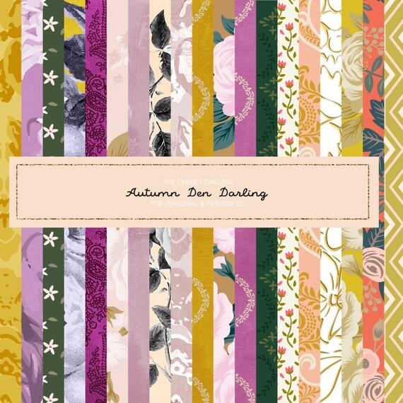 Wald Herbst Höhle Liebling Glitter Herbst Muster Papier Blumen | Etsy