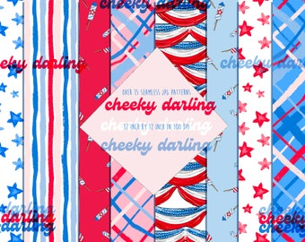 4th of July Paper Patterns  Sea to Shining Sea America Over 15 jpg USA Nautical Red, White and Blue for stickers,  sublimation seamless