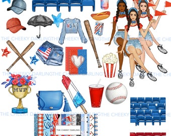 Summer Planner Fashion Girl Baseball Clip Art July America Over 30 PNG Files Glitter Graphics  for small commercial use