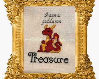 I am a goddamn Treasure dragon cross stitch pattern pdf - easy and quick!