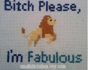 bitch please i'm fabulous lion cross stitch parttern pdf digital instant download