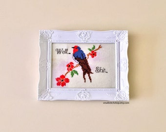 Well, Shit - A cute easy cross stitch pattern featuring an awesome Welcome Swallow and some flowers - PDF