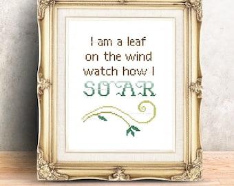 Leaf on the Wind Cross Stitch Pattern Nerdy Geeky Quote Sci-Fi Western