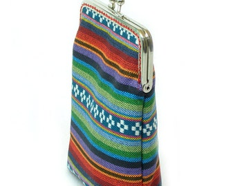 Fabric IPhone Case -Tribal Fabric - Cigarette Case - 5, 4, 4S, 3GS, Large Cell Phone - Metal Silver Frame