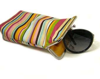 Sunglass Case - 100% cotton  - Colored Stripes - Silver Frame