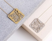 Barcelona Map Geometric Necklace, Map Necklace, Gold / Silver Necklace, Geometric jewelry Gift for her, Barcelona Gift, Jewelry for traveler
