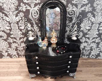 Gothic Black Dresser with Decor Victorian Ornate Dollhouse Furniture Miniature Vanity Dollhouse Dresser