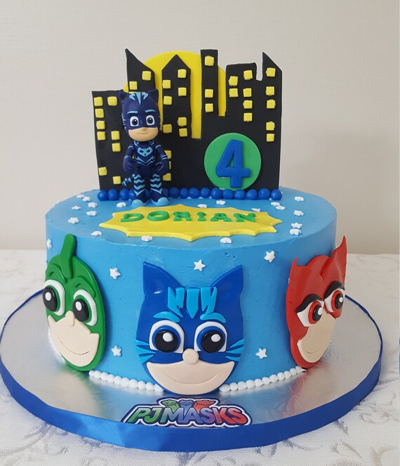 Magnificent Pj Mask Characters 3 Faces Birthday Cake Topper Etsy Personalised Birthday Cards Veneteletsinfo