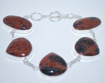 Mahogany Obsidian gemstone crystal bracelet with healing properties present birthday gift bridesmaid prezzie