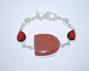 Tan Goldstone  Garnet and Rainbow Moonstone gemstone crystal bracelet with healing properties