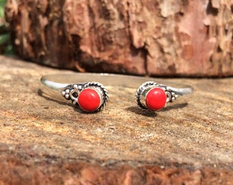 Red Coral gemstone crystal bracelet bangle cuff with healing properties, twisted round, upper arm cuff,  silver tone, root base chakra