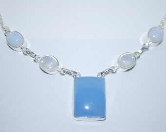 Fiery Opalite and Chalcedony gemstone crystal necklace with healing properties