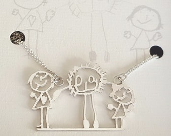 Kids Drawing Necklace - Childrens Personalised Jewellery - Personalised Necklace - Kids Artwork - Mum Necklace - Grandma Gift