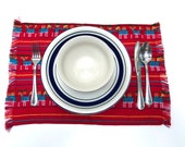 Red Mexican Placemats, Set of Four, Aztec Fabric Napkins, Table Decor, Party Fiesta Tableware, Table setting, Linens, Outdoor Bridal Shower