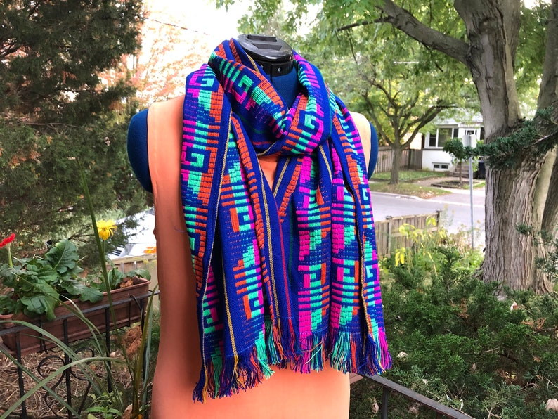 Mexican Scarf Royal Blue Rebozo Aztec Accessories Fiesta image 0