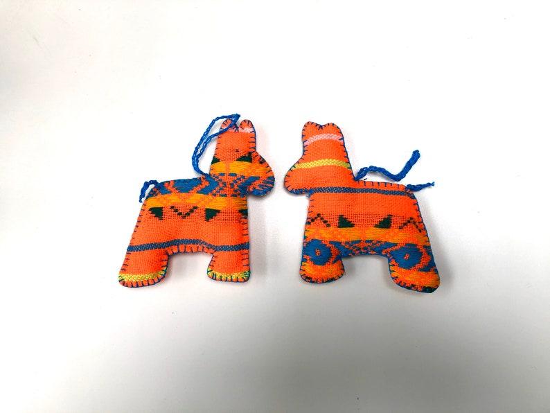 Burro Donkey Ornament Orange Set of Two Tree Decorations image 0