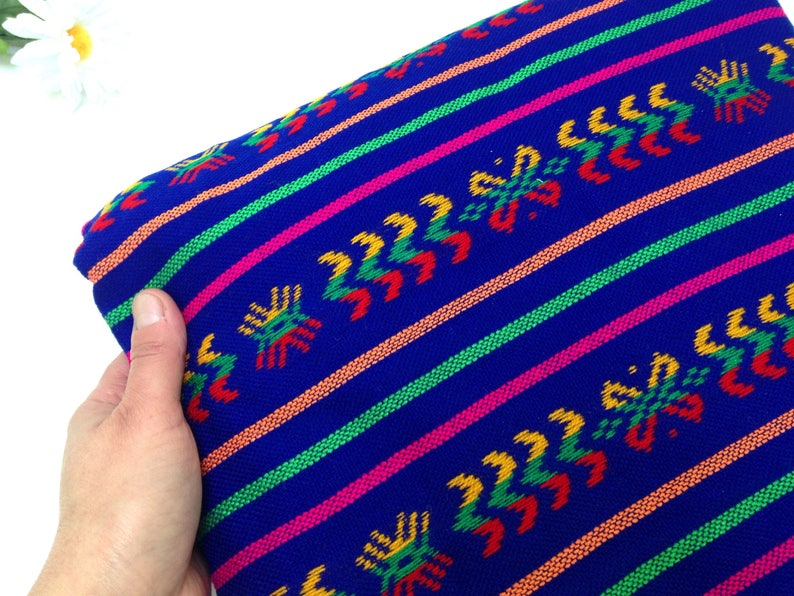 Royal Blue Mexican Fabric Three Yard Tribal Cambaya  Aztec image 0