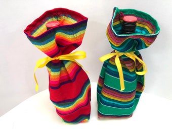 Wine Bottle Bags, Set of Two  Fabric Sleeve, Reusable Gift wrapping, Mexican Table Decor, Fiesta Party Favor, Cinco de Mayo wedding