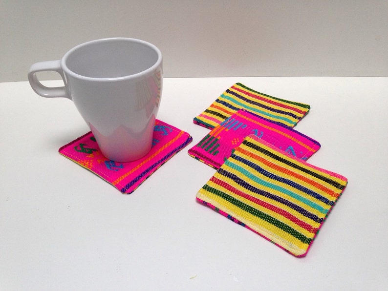 Mexican Fabric Coasters Reversible Set of 4 Rustic Fiesta image 0