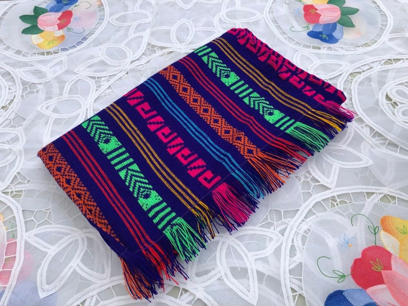 Mexican Table Runner Purple Aztec  Home Decor Outdoor Party image 0