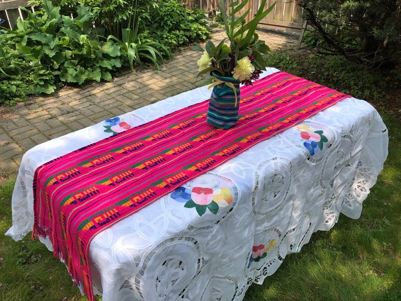 Pink Mexican Table Runner Aztec Home Decor Outdoor Party image 0