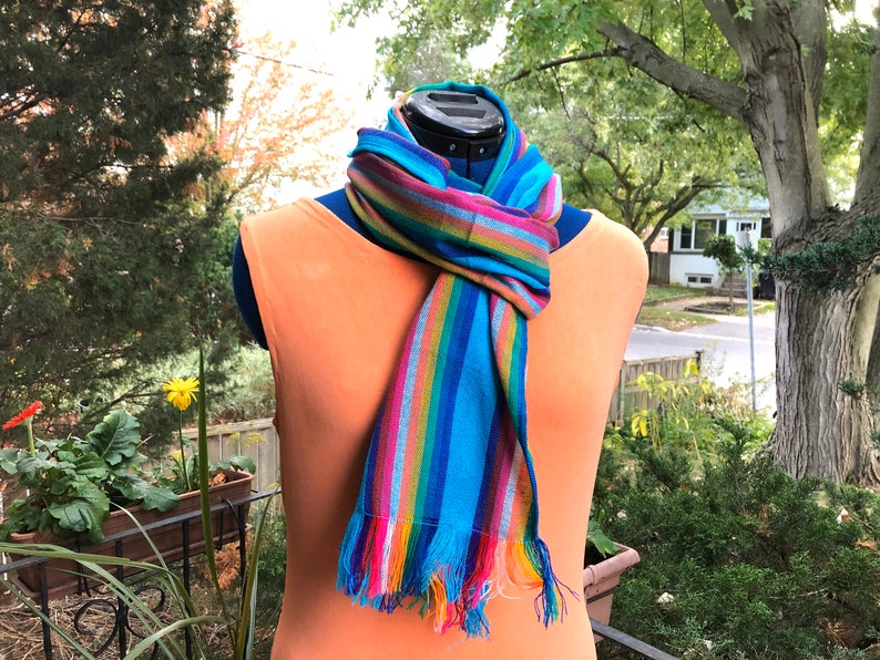 Mexican Scarf Blue Rebozo Aztec Accessories Fiesta Party image 0