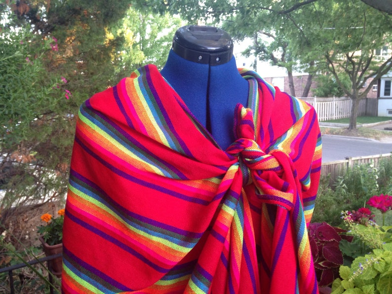Red Rebozo 3 Yard Mexican Cambaya Shawl Long Scarf Tribal image 0
