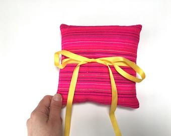 Pink Ring Pillow, Mexican Mini Cushion, Aztec nursery Decor, Fiesta Wedding Decoration, Home Decor, Frida Fiesta, Cinco de Mayo