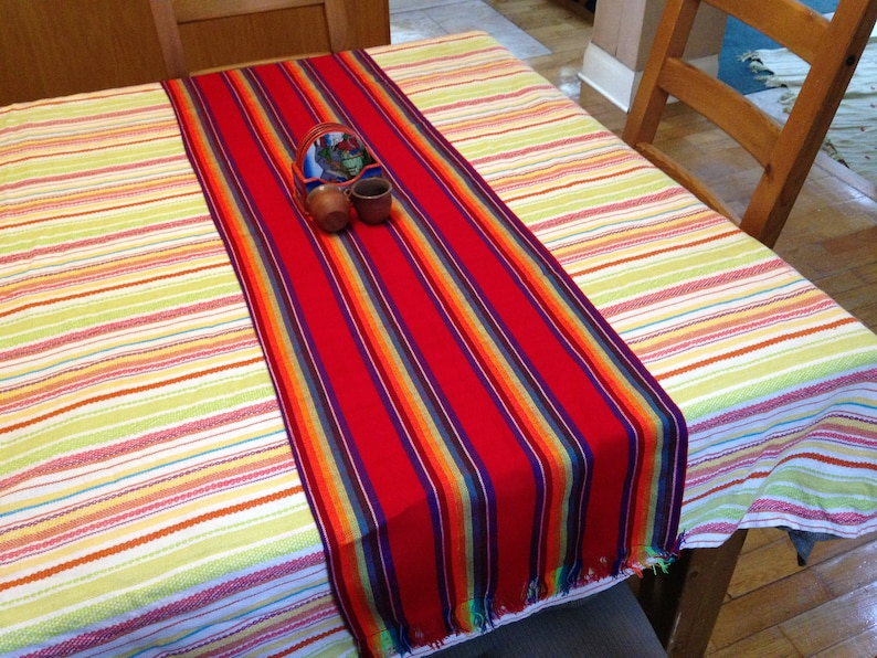 Mexican Table Runner Red Aztec Table Decor Outdoor Party image 0