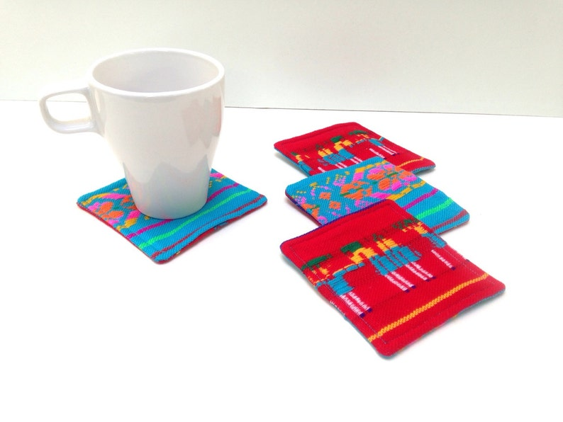 Reversible Fabric Coasters  Set of Four  Rustic Tribal  image 0