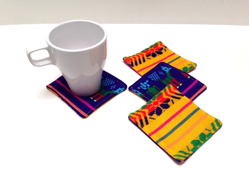 Reversible Mexican Coasters  Set of Four  Rustic Tribal  image 0