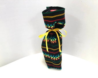 Blue Fabric Gift Bag, Wine Bottle Sleeve, Reusable Gift wrapping, Mexican Aztec Table Decor, Fiesta Party Favor