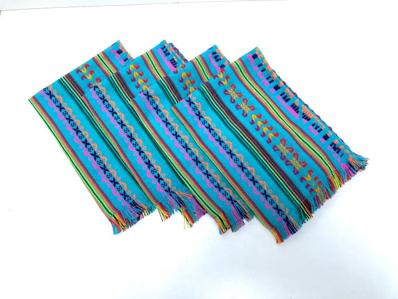Blue Mexican Placemats Set of Four Napkins Aztec Fabric image 0