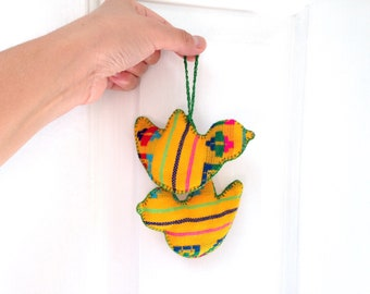 Mexican Bird Ornaments, Yellow Dove, Valentine Gift,  Cinco de Mayo Decoration, Frida fiesta Party, Wedding Favours, Christmas Holiday Tree