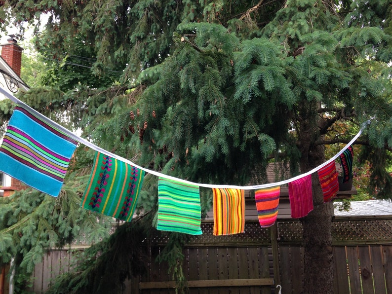 Mexican Banner Fabric Squares Bunting Fiesta Wall Decor image 0