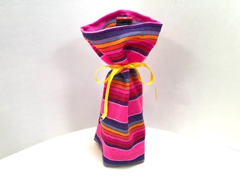 Mexican Wine Bag, Bottle Sleeve  Reusable Gift Wrapping, Pink Wedding Decor, Party Favor Fiesta Table Decor