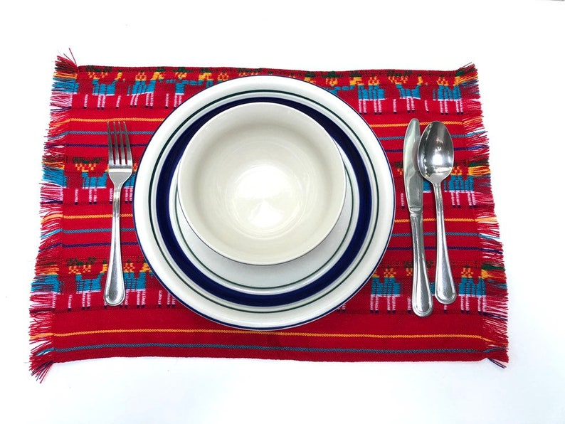 Ref Mexican Placemats Set of Four Aztec Fabric Napkins image 0
