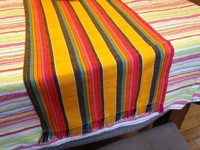 Mexican Table Runner Yellow Aztec Decor Cinco de Mayo Party image 0