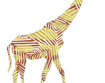 G is for Giraffe - 8 x 10 Digital Print - Yellow Giraffe Silouhette