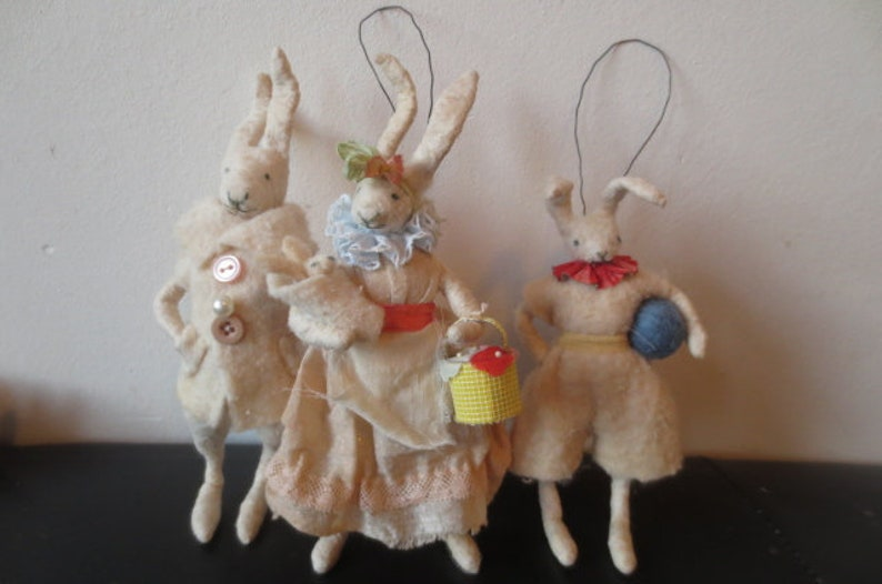 old fashioned spuncotton easter bunnie football, handmade