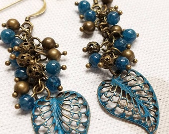 Blue Apatite and Antique Brass Dangle Earrings