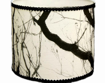 Black and white custom lamp shade, Fabric shade, Drum lamp shade, Table lamp shade, Decorative lamp shade, Table lamp shade