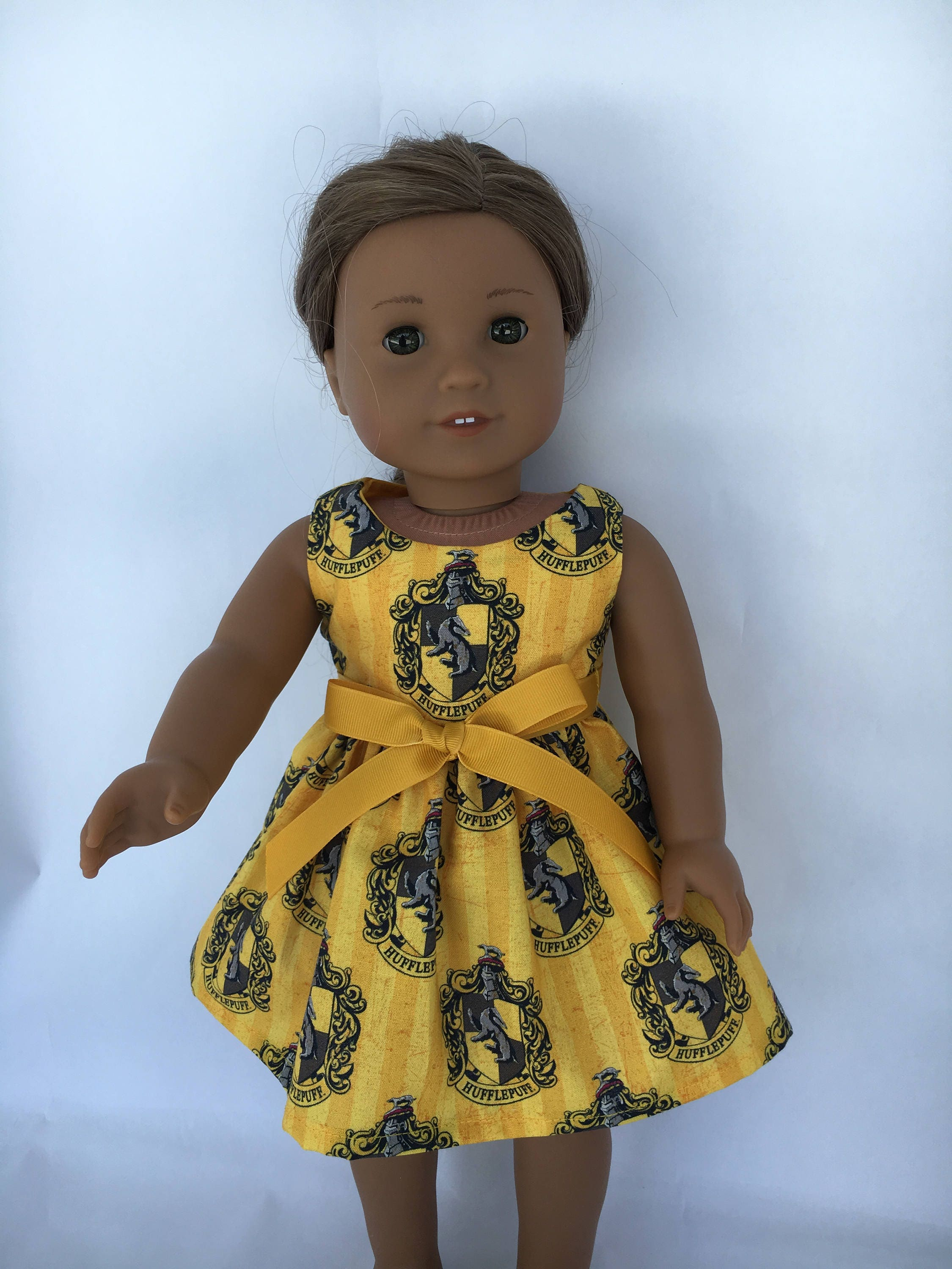 cf8ce5faf5 18 inch doll dress made of Harry Potter Hufflepuff fabric | Etsy
