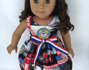 "18 inch doll dress, US Coast Guard doll dress, US Coast Guard, US Military doll dress, made to fit 18"" dolls such as American Girl dolls"