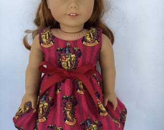 18 inch doll dress made of Harry Potter Gryffindor fabric, made to fit 18 inch dolls such as American Girl dolls and similar size dolls