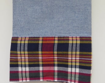 4ca54d549b Ralph Lauren Standard Pillowcase - Blue Chambray Garrison Plaid Madras Cuff  - Blue Red Yellow Green - Denim Decor Dorm Room